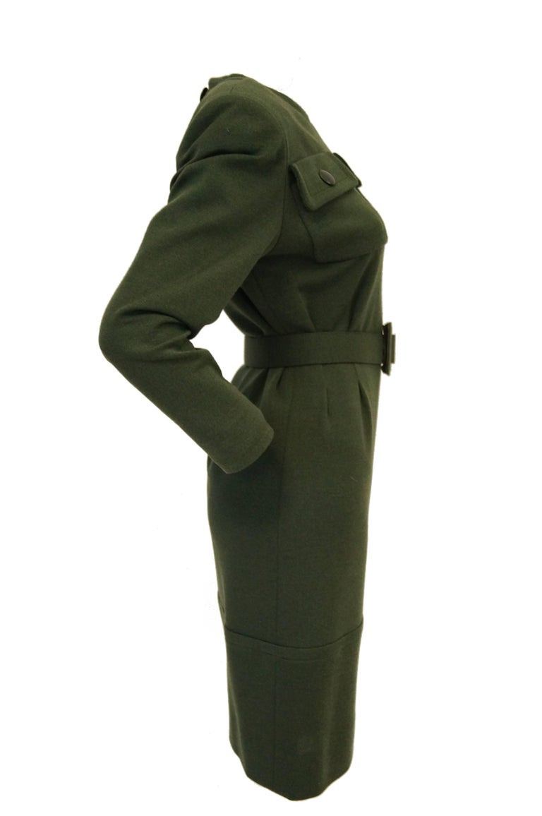 M 1980s Givenchy Couture Olive Green Wool Button Back Dress For Sale 4