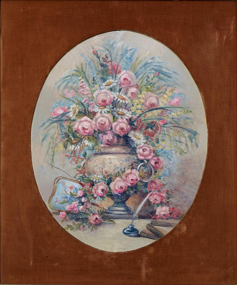 Mid Century Pink Bouquet - Oval Floral Still-Life  - Painting by M Allen