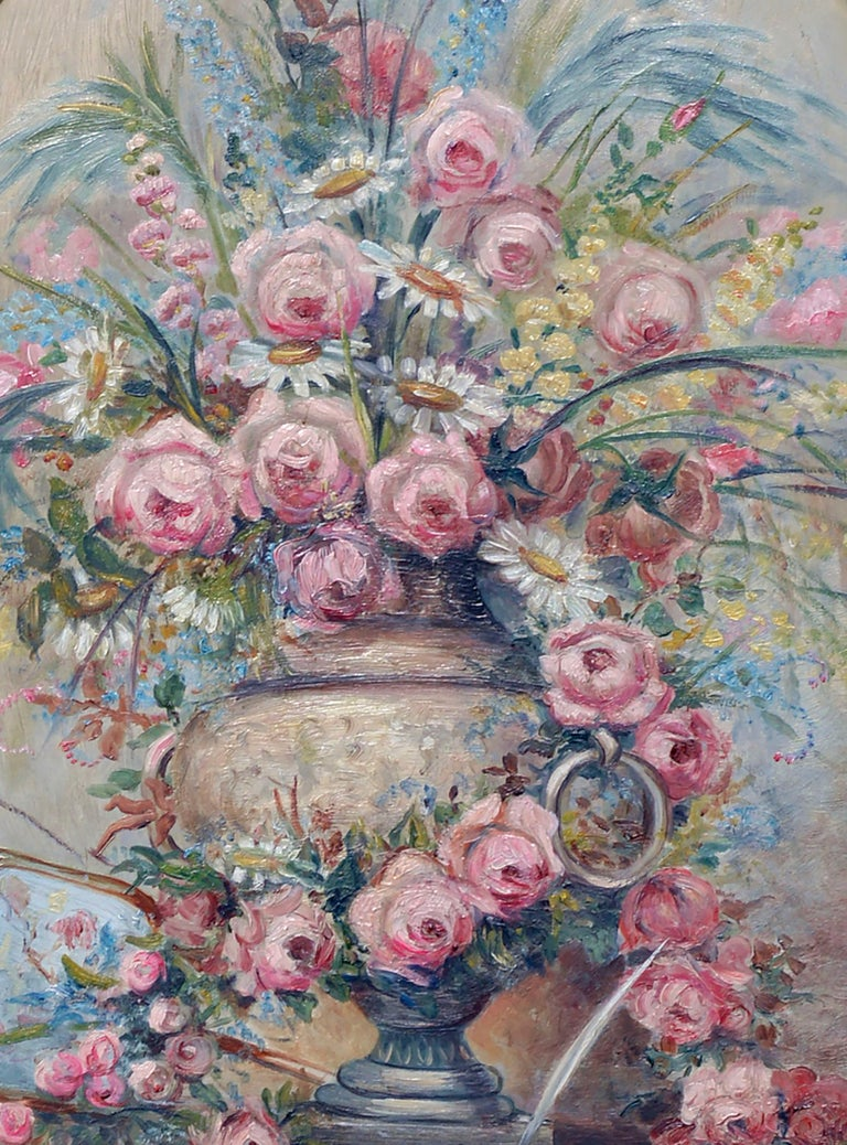 Mid Century Pink Bouquet - Oval Floral Still-Life  - American Impressionist Painting by M Allen
