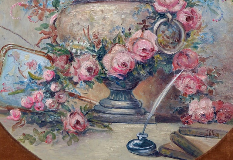 Mid Century Pink Bouquet - Oval Floral Still-Life  - Brown Still-Life Painting by M Allen