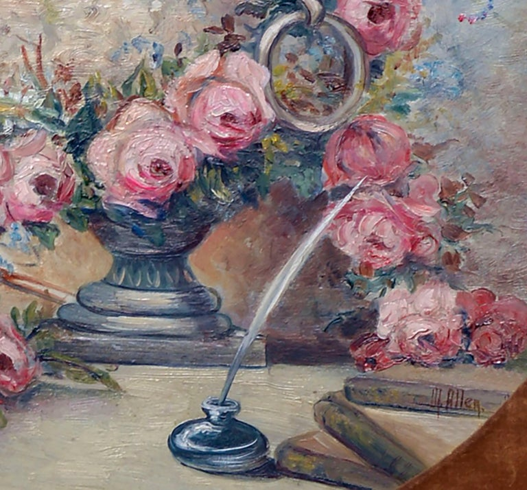 Mid-century oval floral still-life by M. Allen (American, 20th Century). Signed