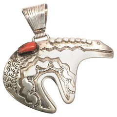 M. Begay Native American Sterling Silver and Coral Bear Pendant