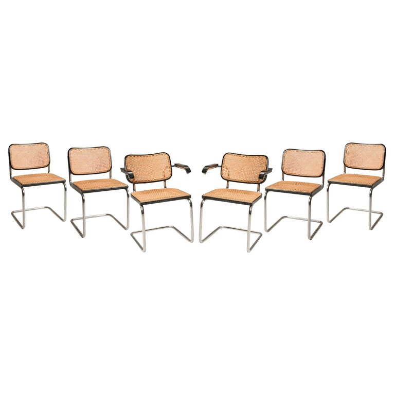 M. Breuer Woven Straw Steel Tubular for Gavina Cesca 8 Chairs and 2 Armchairs For Sale 9