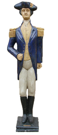 George Washington, Unique Carved and Painted Wooden Sculpture