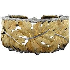 M. Buccellati 18 Karat Leaf Cuff Bracelet with Sterling