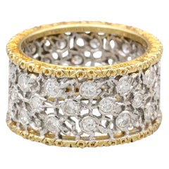 M. Buccellati 3 File Fogliette Diamond 2-Tone 18 Karat Gold Leaf Band Ring
