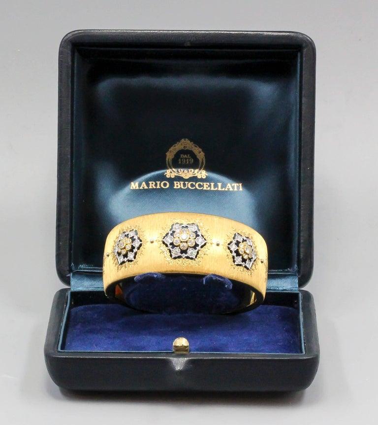 Round Cut M. Buccellati Diamond Gold Wide Cuff Bracelet For Sale