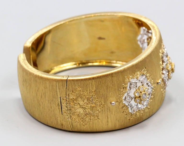 M. Buccellati Diamond Gold Wide Cuff Bracelet For Sale 2