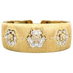 M. Buccellati Diamond Gold Wide Cuff Bracelet