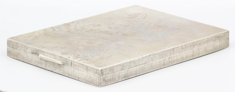 M. Buccellati Panther Hand Etched Sterling Silver Box In Good Condition For Sale In New York, NY