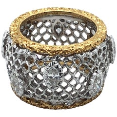 M Buccellati Two-Tone Honeycomb 18 Karat Textured Gold and Marquise Diamond Ring