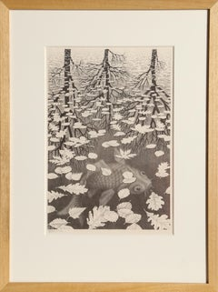 Three Worlds, Lithograph by MC Escher 1955