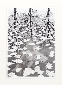 Three Worlds, Lithograph by MC Escher 1955