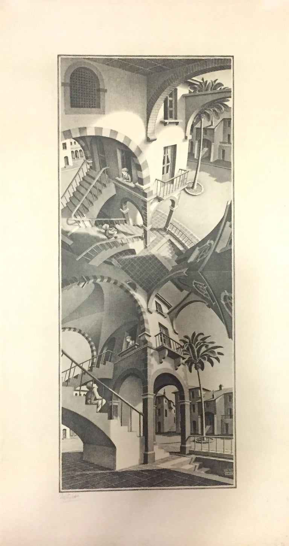 M.C. (Maurits Cornelius) Escher Figurative Print - Up And Down - Original Lithograph by M.C. Escher - 1974