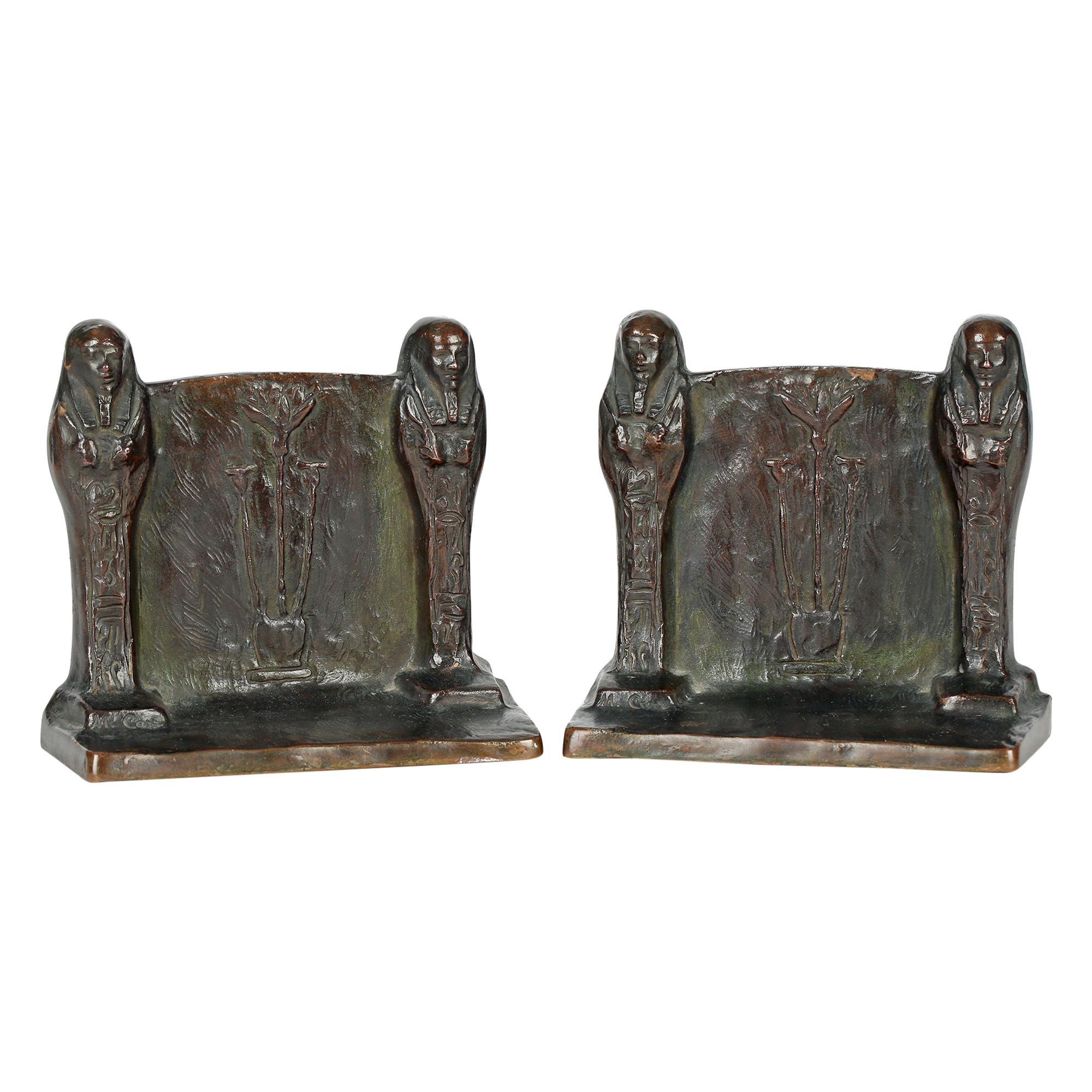 M Carr American Art Nouveau Pair Bronze Egyptian Revival Bookends