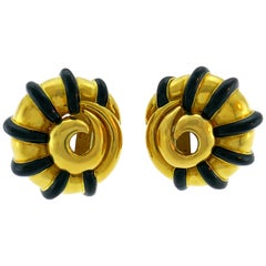 M. Cooperman Enamel Yellow Gold Snail Earrings Clip-On