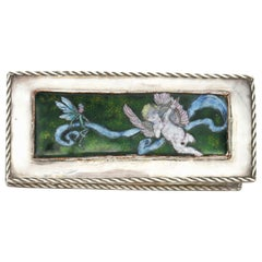 M D Spooner, A Silver plated Hand Enamelled Jewellery Box with Cupid & a Fairy