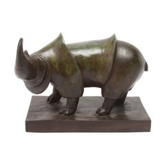M. Donnell Modern Bronze Rhinoceros Sculpture