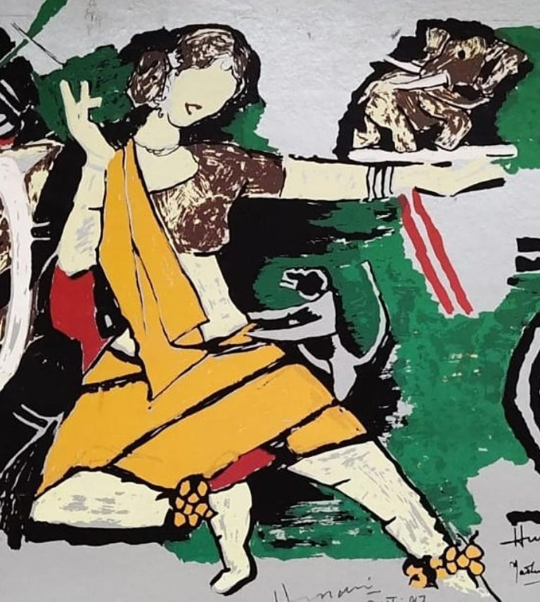 Dancer, Animal, Serigraph on Paper, Green, Yellow, Padma Shree Artist