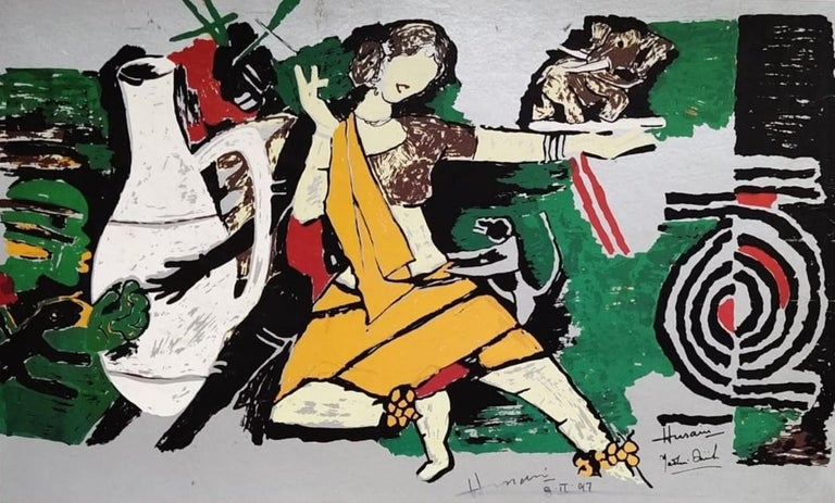 "M.F. Husain Animal Painting - Dancer, Animal, Serigraph on Paper, Green, Yellow, Padma Shree Artist ""In Stock"""