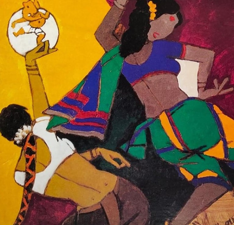 Dancing Women, Ganesha, Serigraph, Paper, Green,Yellow, Red, MF Husain
