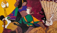 "Dancing Women, Ganesha, Serigraph, Paper, Green,Yellow, Red, MF Husain""In Stock"""