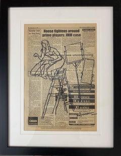 "Figurative, Ink on Newspaper, Drawing by Modern Artist MF Husain ""In Stock"""