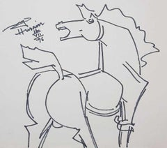 """Horse, Ink on Paper, Black & White Colours by MF Husain """"In Stock"""""""