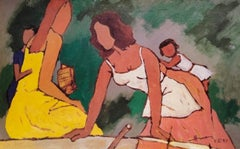 "Mother & Child, Reader, Serigraph on paper, Brown, Yellow by MF Husain""In Stock"""