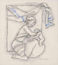 "Mother&Child, Watercolor Drawing, Blue,Black,White Padma Shree Artist ""In Stock"""