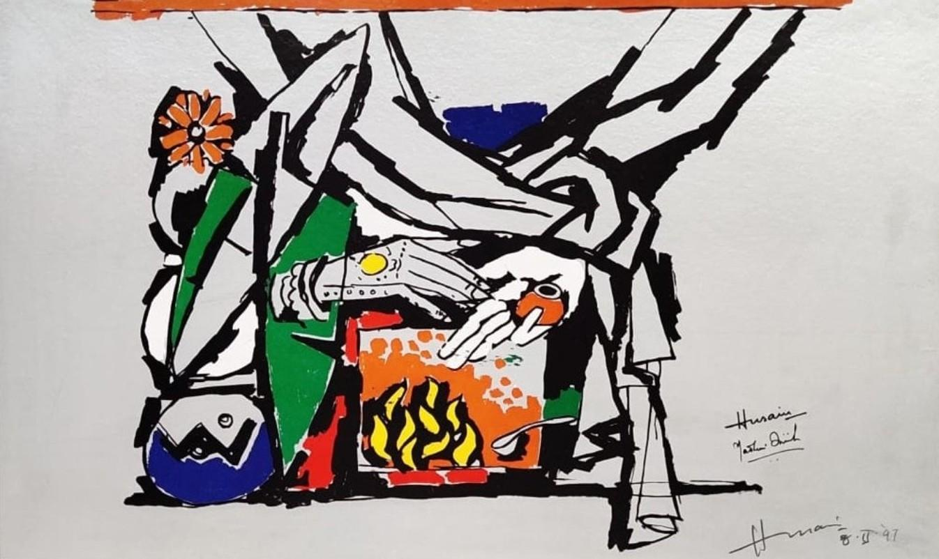 """Serigraph on paper, Green, Orange, Blue, Red by Padma Shree Artist """"In Stock"""""""