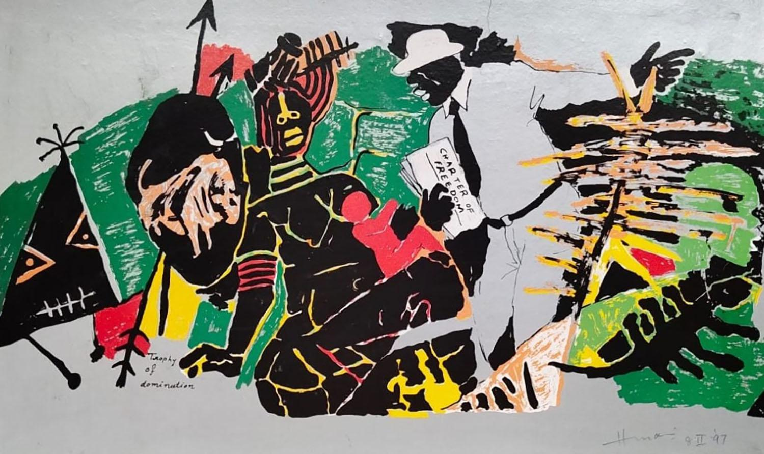 """Trophy of Dominution, Serigraph on paper, Green,Red, PadmaShree Artist""""In Stock"""""""
