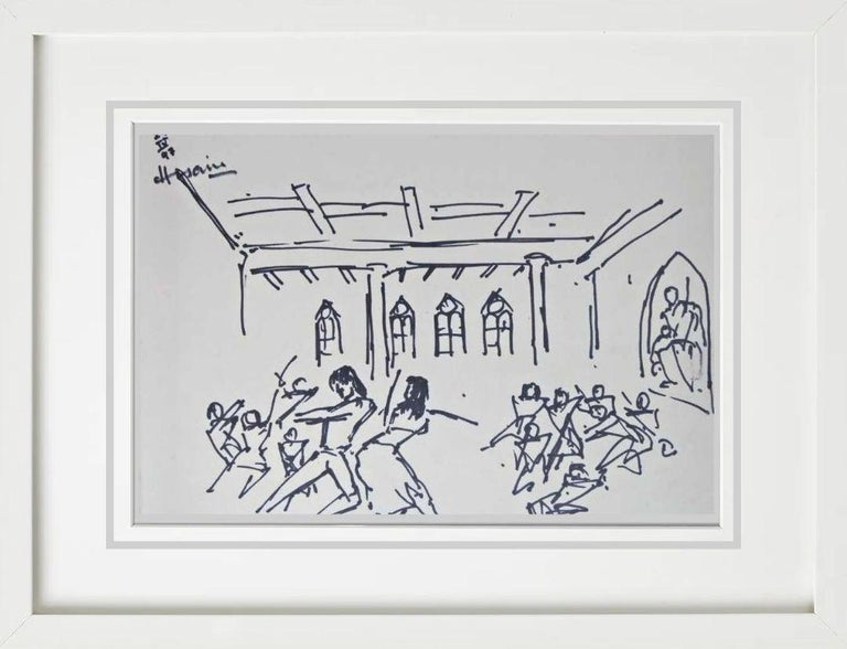 """Untitled, Ink on Paper, Black & White by Indian Artist MF Husain """"In Stock"""" - Painting by M.F. Husain"""
