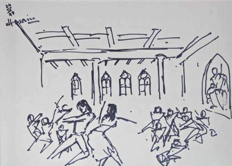 """M.F. Husain Figurative Painting - Untitled, Ink on Paper, Black & White by Indian Artist MF Husain """"In Stock"""""""