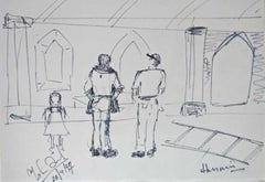 """Untitled, Ink on Paper, Black & White by Indian Artist MF Husain """"In Stock"""""""