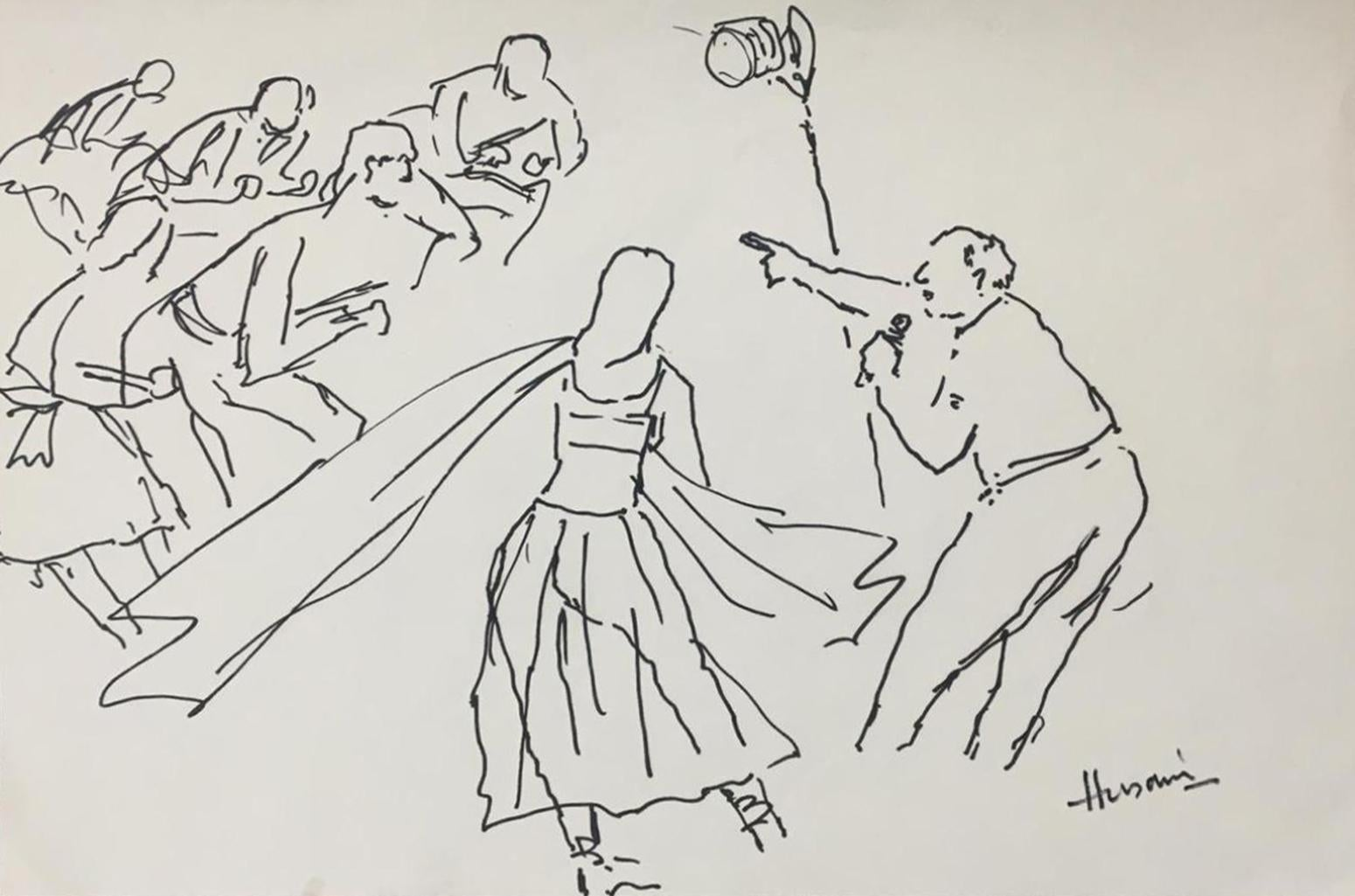"""Illustration of A Film Set , Ink on Paper, by Indian Artist MF Husain """"In Stock"""""""