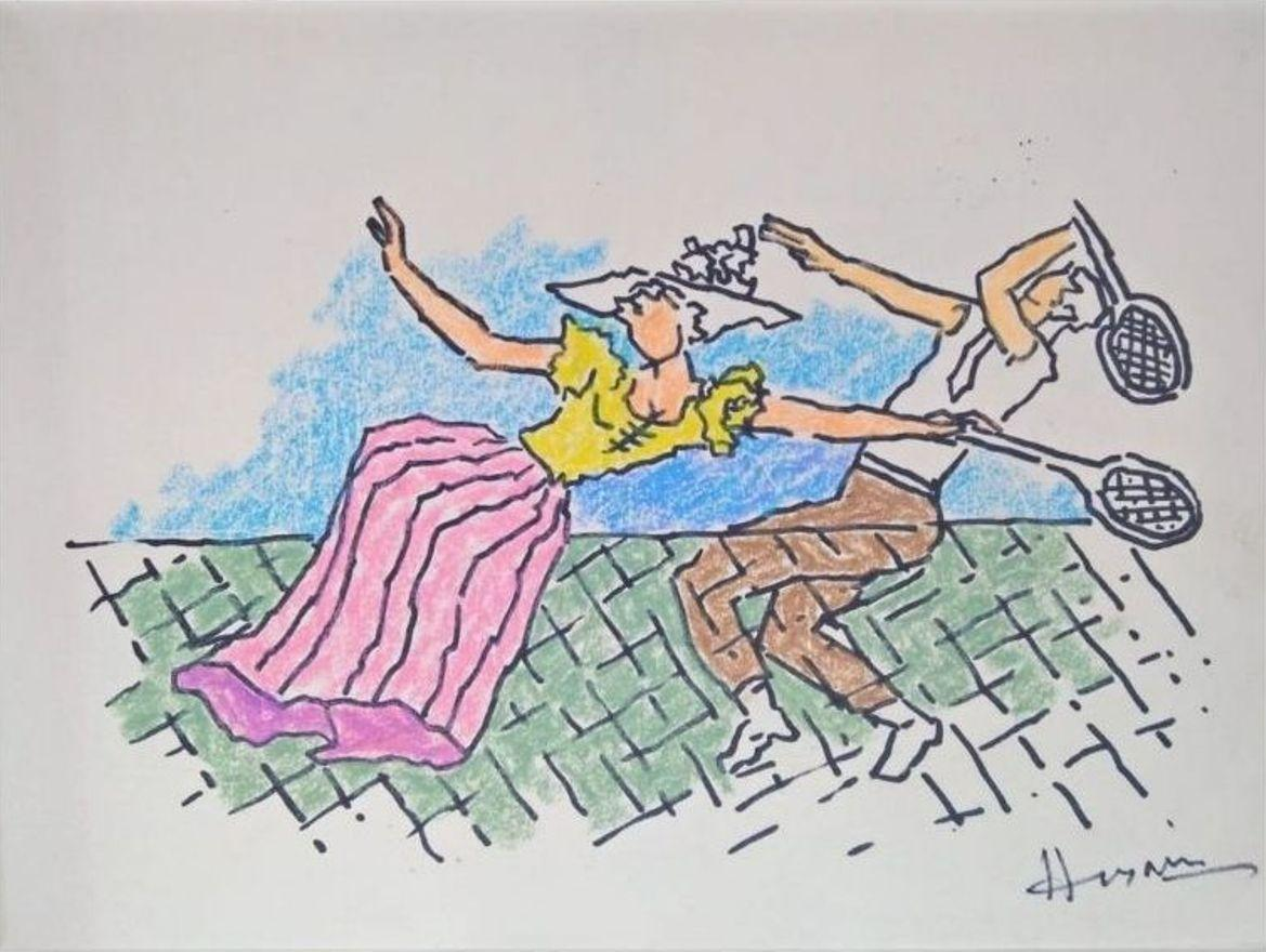 """Untitled, Mixed Media on Paper by M.F. Husain """"In Stock"""""""