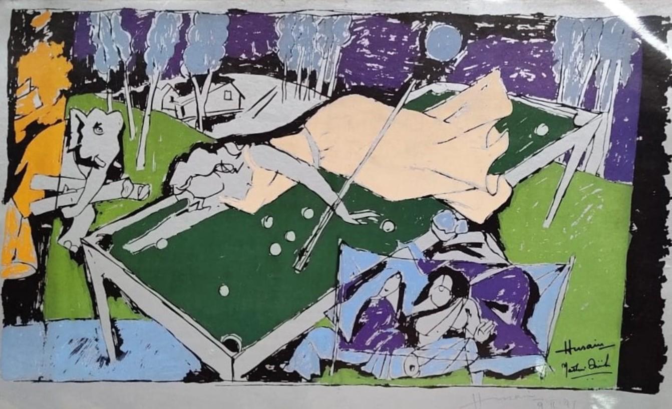 "Woman on Billiard Board, Serigraph, Paper, Green, Violet by MF Husain ""In Stock"""
