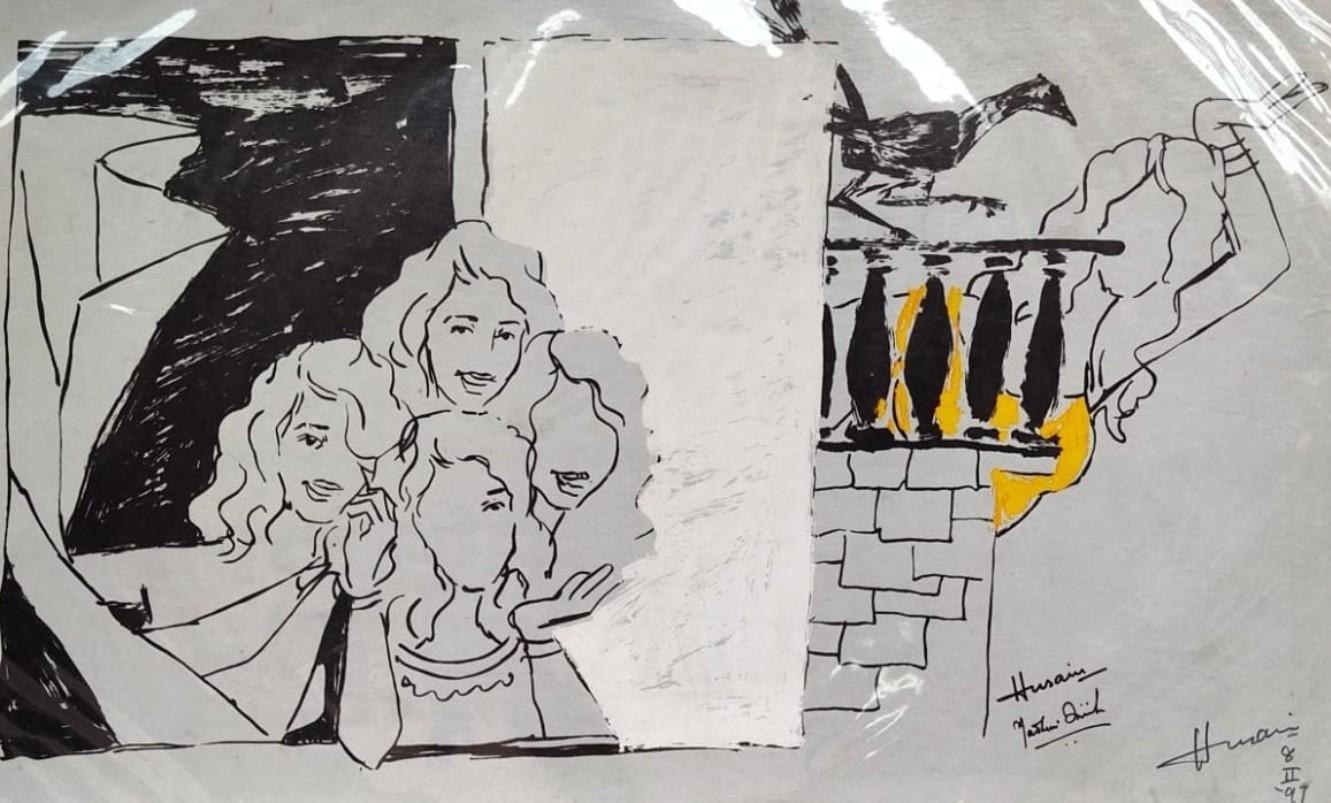 "Women, Bird, Serigraph on paper, Black, Yellow by Padma Shree Artist ""In Stock"""