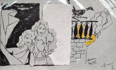 "Women, Bird, Serigraph on paper, Black, Yellow by Padma Shree Artist ""In Stock"""