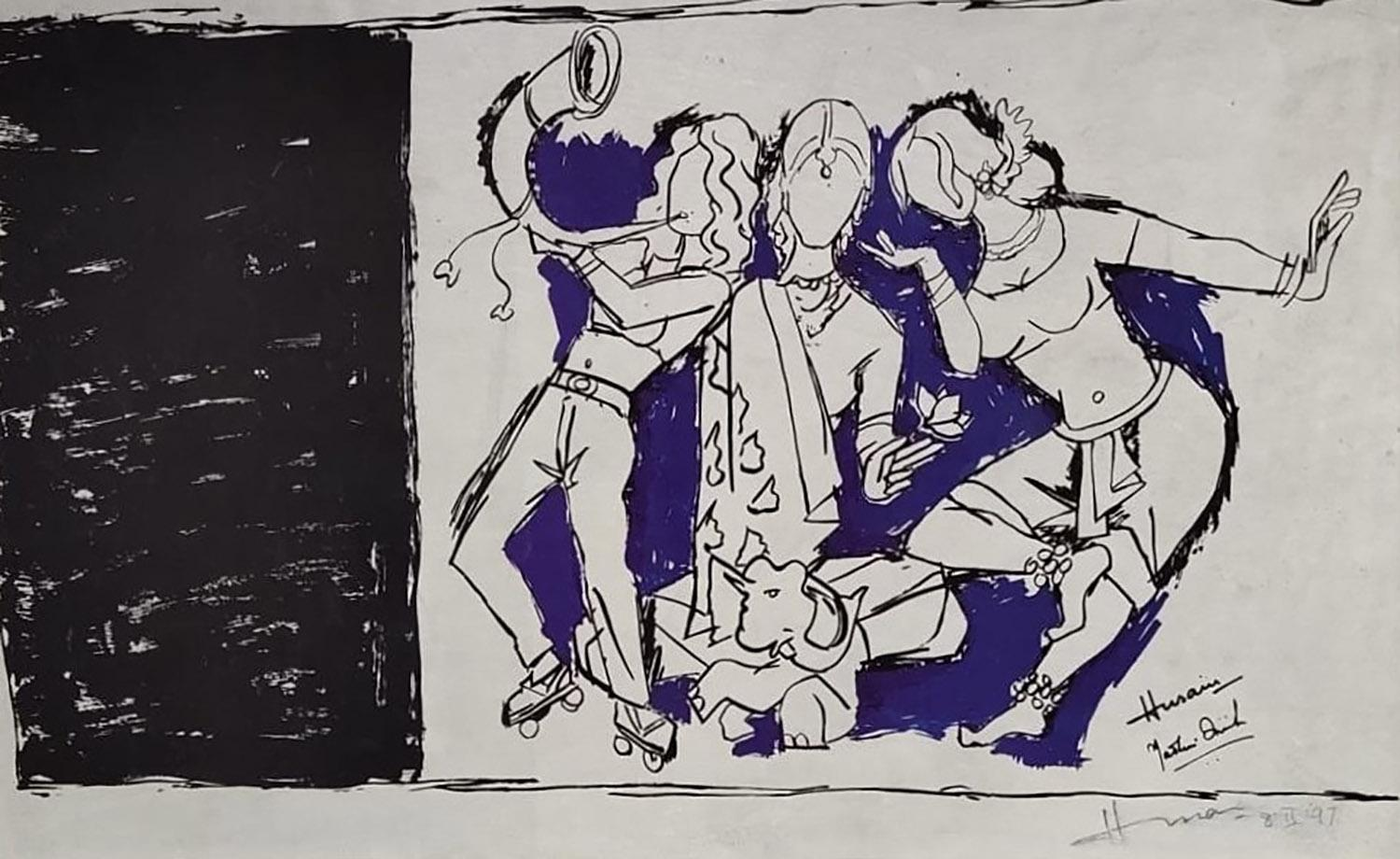 """Worship of Devi, Serigraph on paper, Black, Blue by Padma Shree Artist""""In Stock"""""""