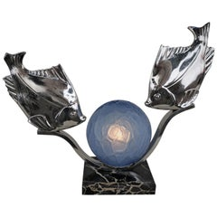 M. Font French 1920s Art Deco Fish Lamp