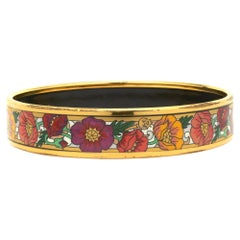 M. Frey Willie Stainless Steel Enamel Floral Bangle Bracelet