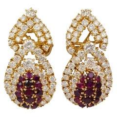 M Gerard Diamond Ruby Drop Earrings