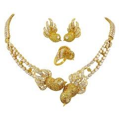 M. Gerard Fancy Yellow, White Diamond Bird Necklace Suite