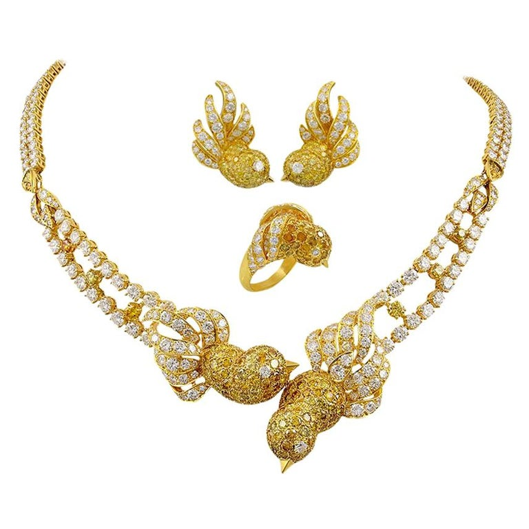 M. Gerard Fancy Yellow, White Diamond Bird Necklace Suite For Sale
