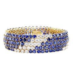 M. Gerard Paris Sapphire Diamond Bracelet, 1970s