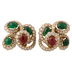 M. Gerard Ruby Emerald Diamond Yellow Gold Clip On Earrings