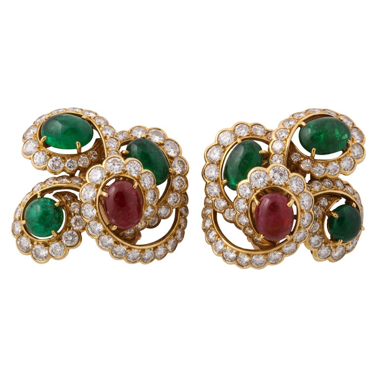 M. Gerard Ruby Emerald Diamond Yellow Gold Clip On Earrings For Sale