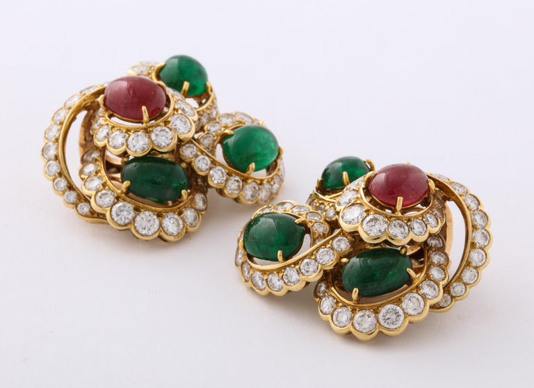 M. Gerard Ruby Emerald Diamond Yellow Gold Clip On Earrings For Sale 1